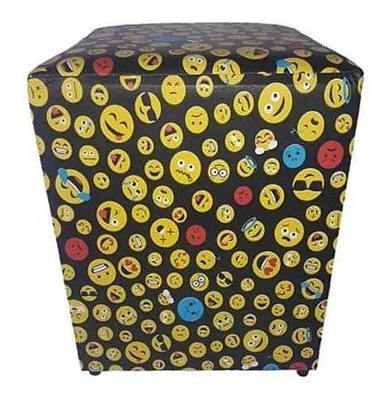 Puff Quadrado 35x35x45cm Decorativo Estampado emojis