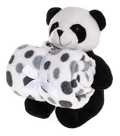Kit Manta Baby Com Bichinho De Pelúcia Panda