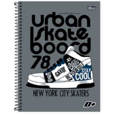 Caderno com capa dura - urban skate boord - 200 Folhas - 10 Matérias - TILIBRA