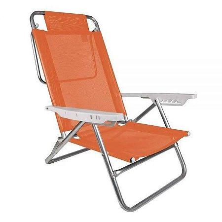 Cadeira de Alumínio Reclinável 6 Posições Summer Fashion Laranja Mor