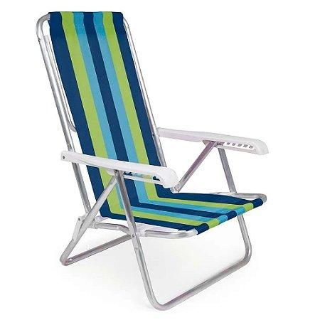 Cadeira Aluminio Verde/Azul Reclinável 4 Posições - Mor