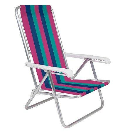 Cadeira Aluminio Rosa/Azul/Verde Reclinável 4 Posições - Mor