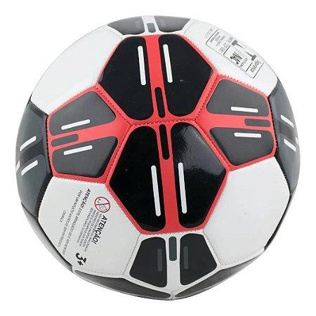 Bola De Futebol Semi Profissional Preto E Vermelho - Bbr Toys