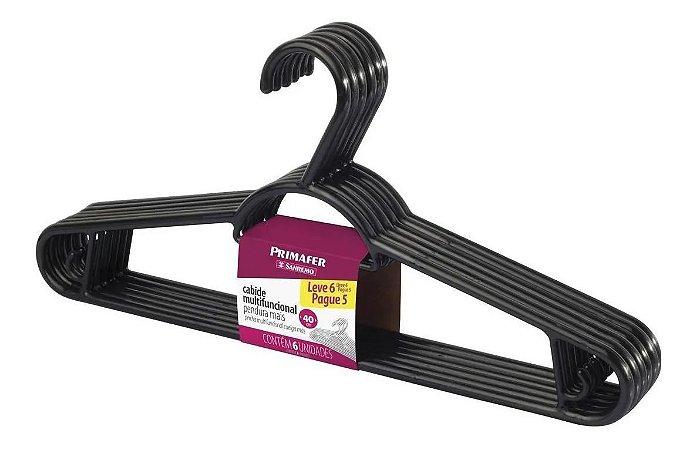 Cabide Pendura Mais De Plástico 6 Peças 40cm Preto - Sanremo