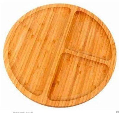Petisqueira Bandeja Redonda De Bambu Com 3 Divisórias - Wincy