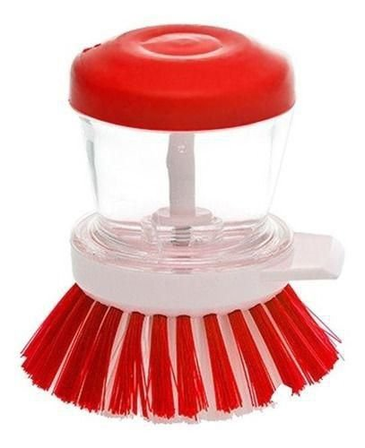Escova lava louça com dispenser para detergente Vermelho - Paramount