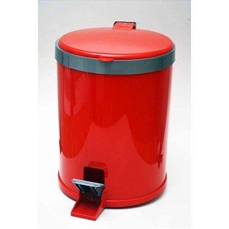 Lixeira 12 Litros Plástico Com pedal Vermelha - Viel