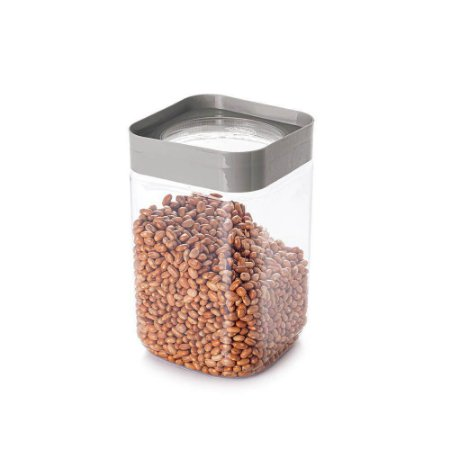 Porta Mantimentos Pote Quadrado Empilhável Plástico Cinza 2L - Plasutil
