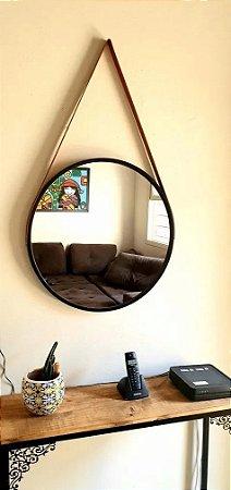 Espelho Adnet Redondo Grande 60 Cm Preto C/ Alça Caramelo