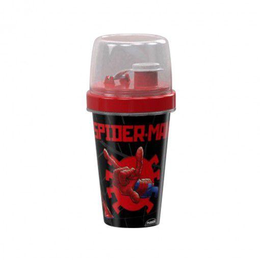 Mini Shakeira de Plástico 320 ml com Misturador Fechamento Rosca e Sobretampa Articulável Homem Aranha - Plasutil