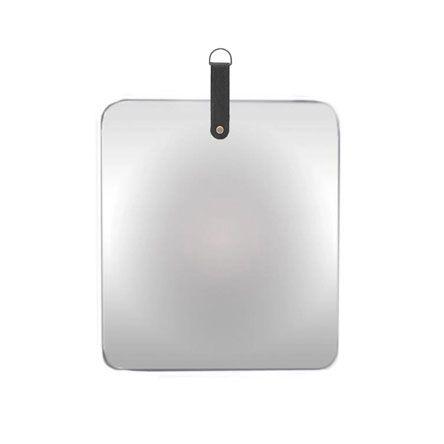 Espelho Quadrado Slim com alça Preta 35 cm