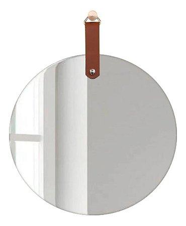 Espelho Redondo Slim 450mm alça preta