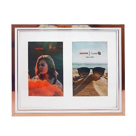 Porta retrato plástico para 2 fotos 10x15 horizontal vertical reto branco com rose gold - Rio master