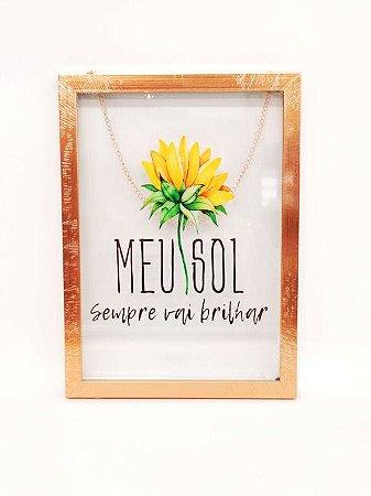 Quadros Borda de Madeira com impressão de vidro Moldura de Plastico Rose Meu Sol - Amigold