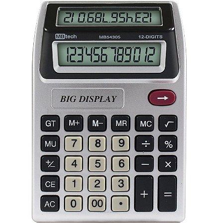 Calculadora MBTech Visor Duplo 12 Dígitos Pilha AA - LY84305
