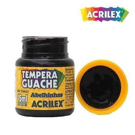 Tinta Tempera Guache Acrilex 15 ml - Preto