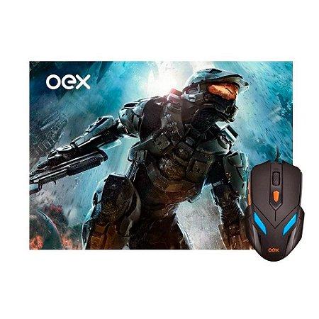 Kit Gamer OEX Game War - Mouse LED + Mousepad Pequeno