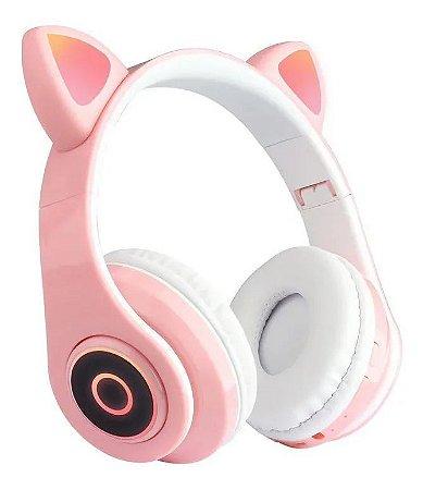 Fone Orelha de Gato Bluetooth 5.0 com LED dobrável controle de volume Cat Ear