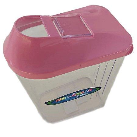 Pote de Plástico Multiuso Retangular 1,45L Rosa - Xplast