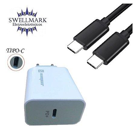 Kit Carregador Turbo Tipo C + Cabo USB 3.1 Tipo C Macho 1Mt