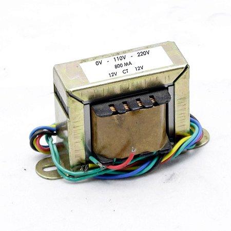 Transformador Trafo 0v -110v-220v x 12vac-0v-12vac  800ma