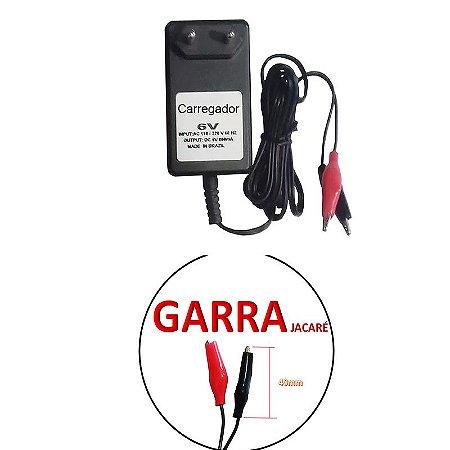 Carregador de Bateria 6Vdc 800mAh Entrada: 110/220V 50/60Hz