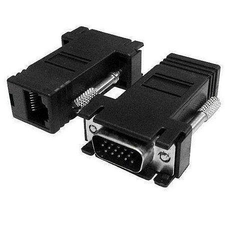 Adaptador extensor VGA vídeo via cabo de rede RJ45
