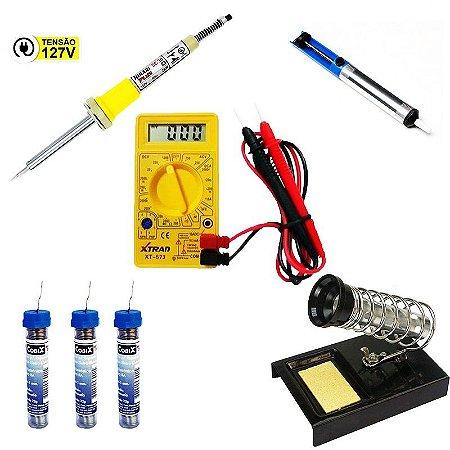 Kit Multimetro Digital Xt-573 + Ferro De Solda 25w 127 + 3 Tubinhos De Solda Fio 1,0mm + Sugador De Solda + Suporte