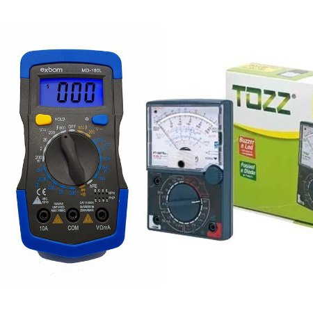 Kit Multímetro Analógico YX-360 TRNL Tozz + Multímetro Digital MD-180L