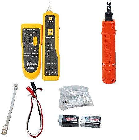 Kit Localizador de Cabos Rede Telefone e teste RJ45 RJ11 Zumbidor + Alicate Punch Down Terminal Tipo 110/66/88