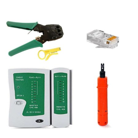 kit Alicate Punch Down +  20pçs Conector Rj45 + Alicate Crimpar  Rj11 Rj12 Rj45 Decapador+ Testador de cabo de rede
