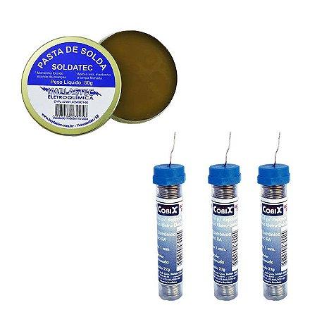 Kit Pasta de Soldar Pote 50G Implastec + 3 Tubinhos de Solda Cobix 22g 1mm