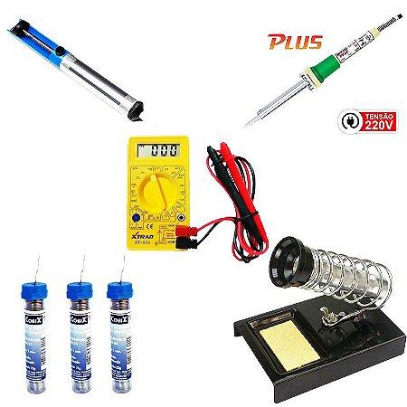 Kit Multimetro Digital XT-573 + Ferro de Solda 50W SC-60 220V + 3 Tubinhos de Solda + Sugador de Solda + Suporte