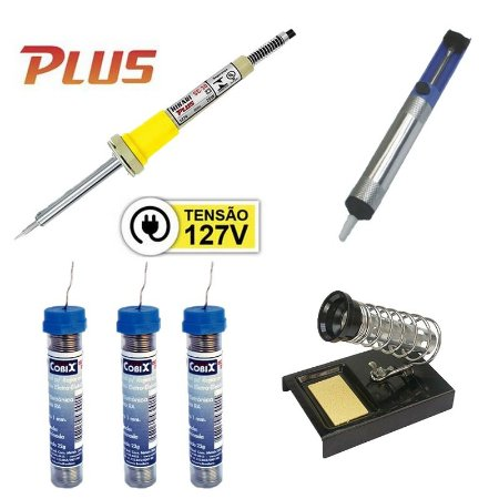 Kit Ferro de Soldar Plus SC-30 25W 127V + Sugador de Solda + 3 Tubinhos de Solda Fio 1,0mm + Suporte