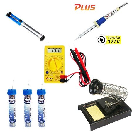 Kit Multimetro Digital XT-573 + Ferro de Solda 34w SC-40 127V + Sugador de solda + 3 Tubinhos de Solda + Suporte