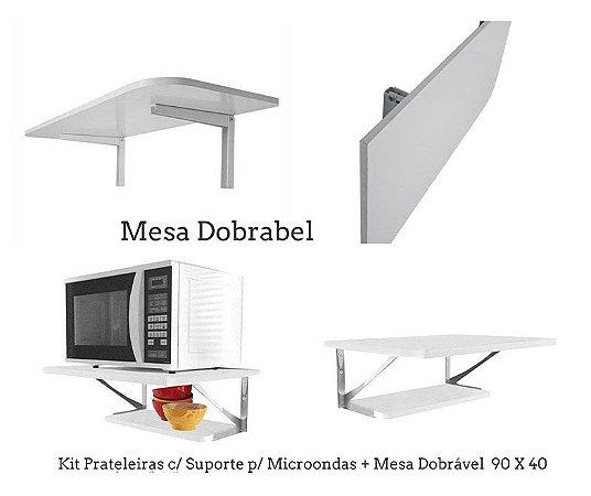 Kit Prateleiras c/ Suporte p/ Microondas + Mesa Dobrável Com Suporte 90 X 40 Cm Multivisão Branca
