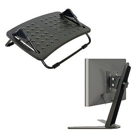 Kit Apoio Ergonômico para os Pés ABS c/ Regulagem + Suporte de Mesa para Monitores de 10 a 24 c/ Ajuste de Altura
