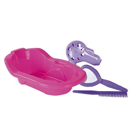Banheira + Acessórios (secador, pente e espelho lilás)