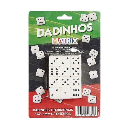 Dadinhos Tradicionais 16mm X 16mm - cartela com 12 dados