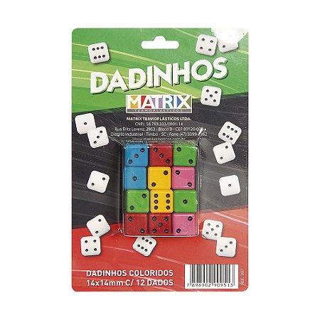 Dadinhos Coloridos 16mm X 16mm - cartela com 12 dados