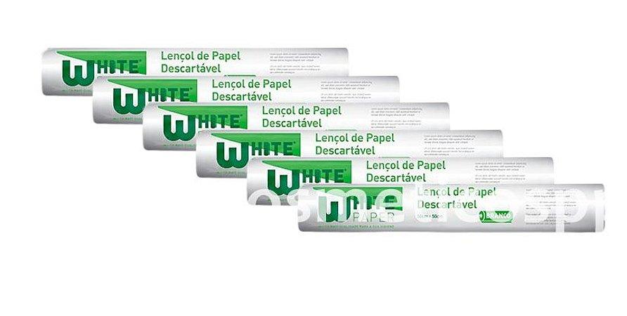 Caixa c/ 6 Rolos de Lençol de Papel Higipratic Descartável 50cm x 50cm