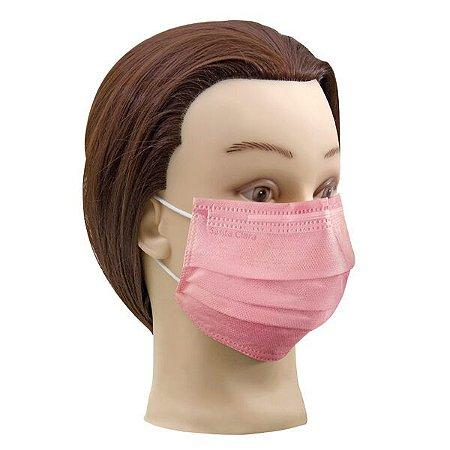1 cx Máscara rosa descartável não tecido com elástico Santa clara ref 5018 (caixa com 25un de máscara)