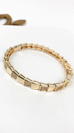 Bracelete Folheado 18k Placas Lisas em Zirconia