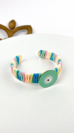 Bracelete Cordao Tie Dye com Olho Neon