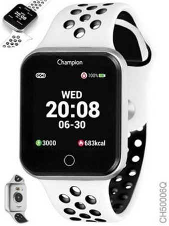 Relógio Smartwatch Champion Bluetooth 4.0 Preto Pulseira Branca e Cinza
