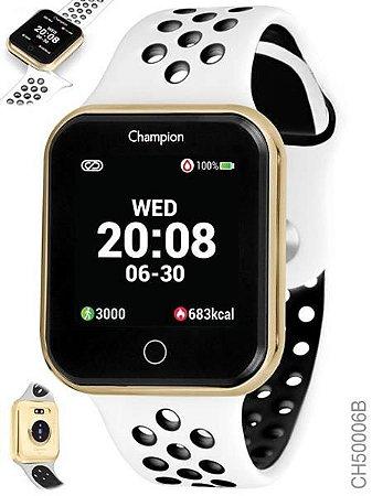 Relógio Smartwatch Champion Bluetooth 4.0 Branco e Dourado
