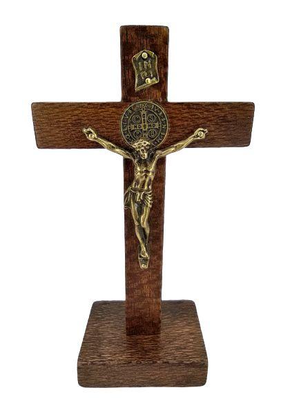 Crucifixo Rústico de mesa São Bento 12 cm