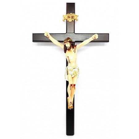Crucifixo de parede c/ Cristo em resina 33 cm