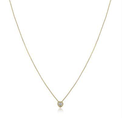 Colar com coração em pedra natural cristal folheado em ouro 18k