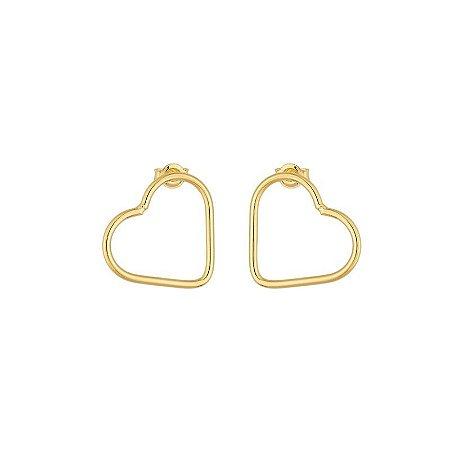 Brinco em formato de coração folheado em ouro 18K